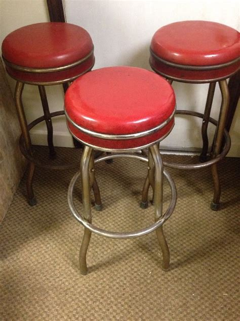 Vintage Chrome Bar Stools by Vintage 1950 S 30 S Ruby Vinyl Chrome Swivel Bar