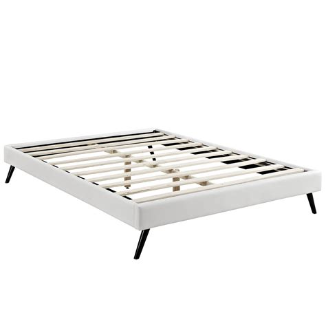 White King Bed Frame Helen Mid Century King Vinyl Platform Splayed Leg Bed Frame White
