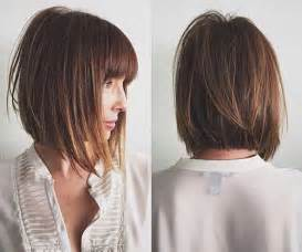 inverted layers in hair inverted bob with side bang dark brown hairs