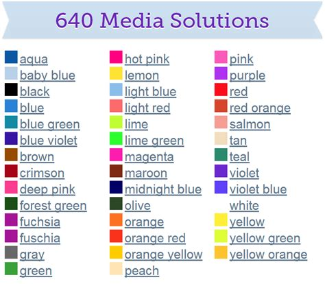 names for the color black 640 media solutions popular color names and sles