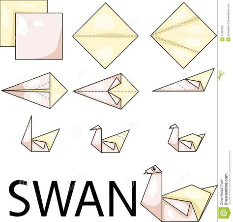 Origami Swan How To - origami swan royalty free stock images image 31697569