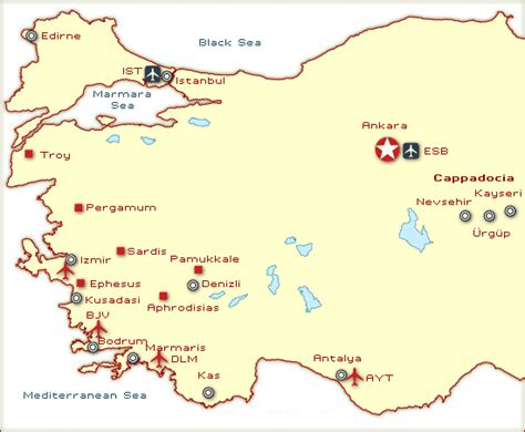 turkey archaeological sites map western turkey travel map and guide