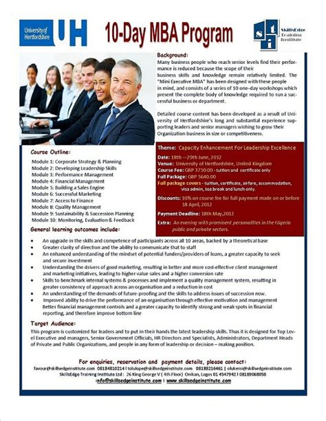 Mba Program Re by 10 Day Mba Program Educational Services Nigeria