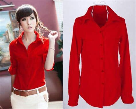 Hem Misua Baju Wanita Bagus Murah hem perempuan baju kemeja hem polos merah wanita model