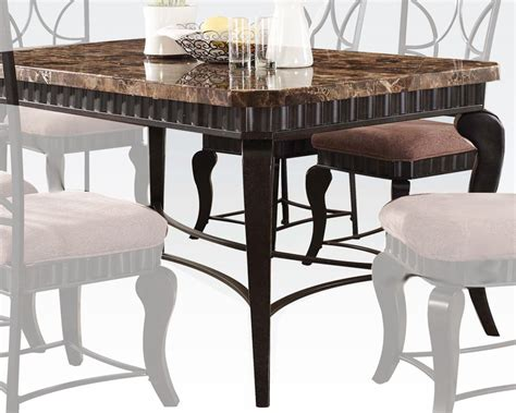 acme brown marble top dining table galiana ac18289