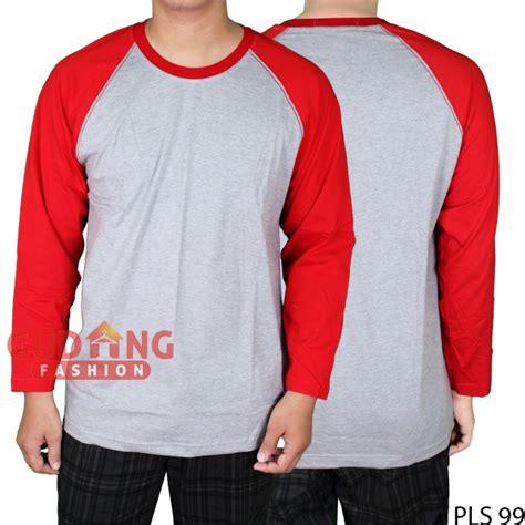 Kaos Lengan Panjang Hijau Kaos Polos Cotton Combed Big Size raglan polos lengan panjang cotton combed abu merah