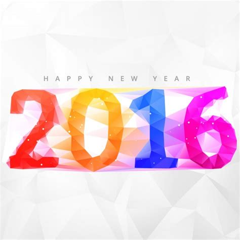 new year by the numbers colorful polygonal new year 2016 numbers background vector