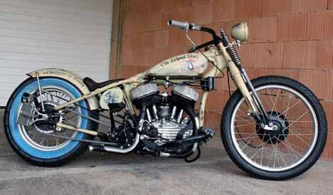 Hydra Top Salem By Riamiranda image of 1942 harley wla flathead bobber in weathered