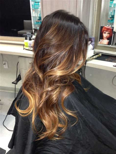 best blonde caramel highlights with ombre darke brown base balayaged to a multidimensional chocolate