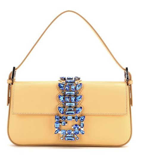 Fendi Embellished Bag by Fendi Baguette Embellished Leather Shoulder Bag In Yellow