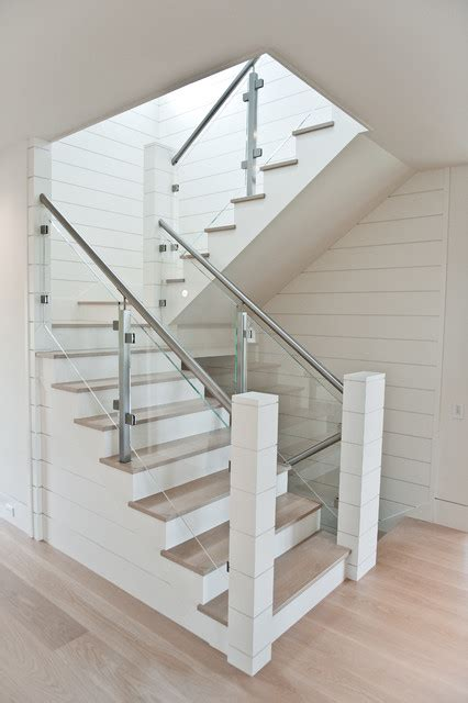River Rock Bathroom Ideas by Nantucket Glass Railing Beach Style Staircase New