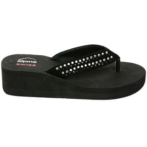 womens wedge slippers alpine swiss womens rhinestone sandals platform high heel