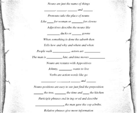section of a poem diy parts of speech poem
