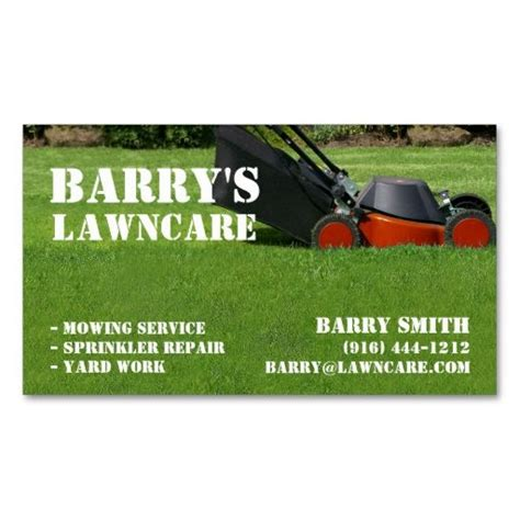 lawn care business cards templates free lawn care or landscaping business card