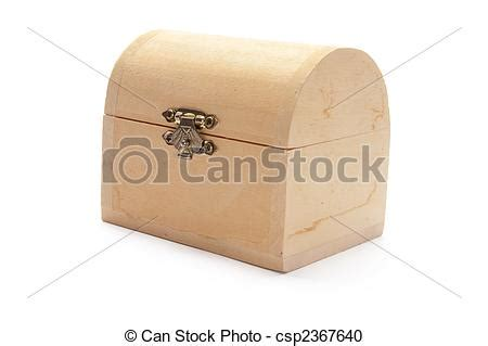 miniature wooden treasure box  white background