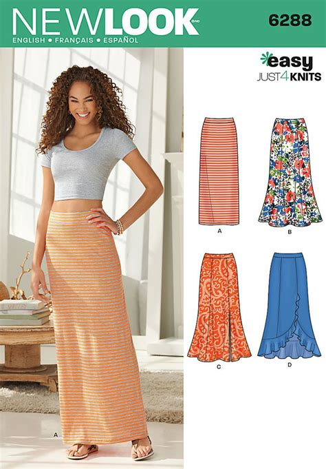 sewing pattern simple knit skirt new look pattern 6288 misses pull on knit skirts easy