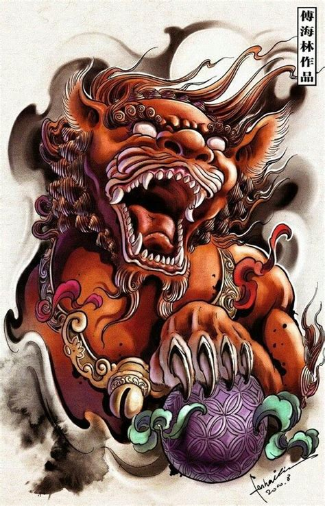 foo dog lion guardian oriental tattoo design pinterest