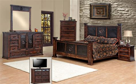 Queen Size Copper Creek Bedroom Set Free Shipping Dark Bedroom Furniture Free Shipping