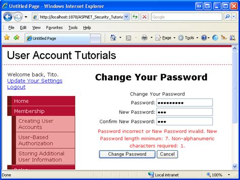 html tutorial username password recovering and changing passwords c the asp net site