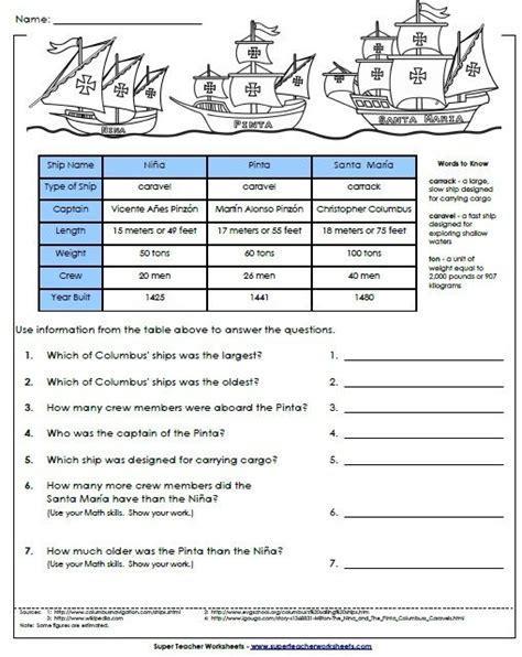 America Before Columbus Worksheet columbus day worksheet pinta and santa