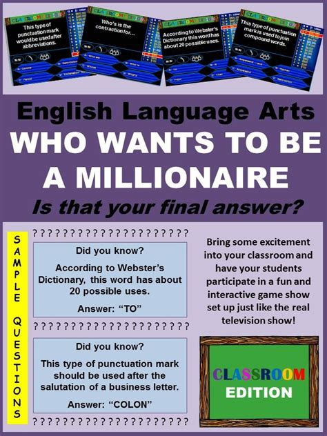classroom millionaire trivia game english language
