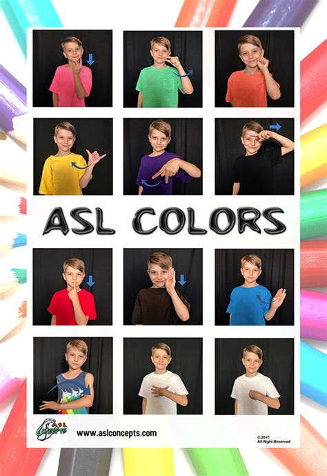 asl colors asl color poster asl concepts