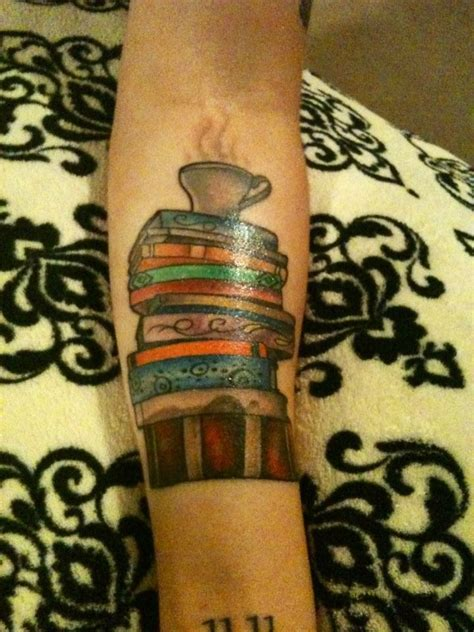 stack of books tattoos maybe one day