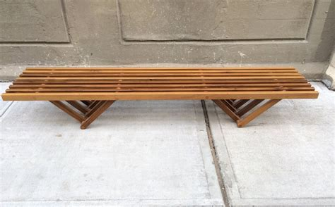 mid century modern benches mid century modern solid teak slat bench at 1stdibs