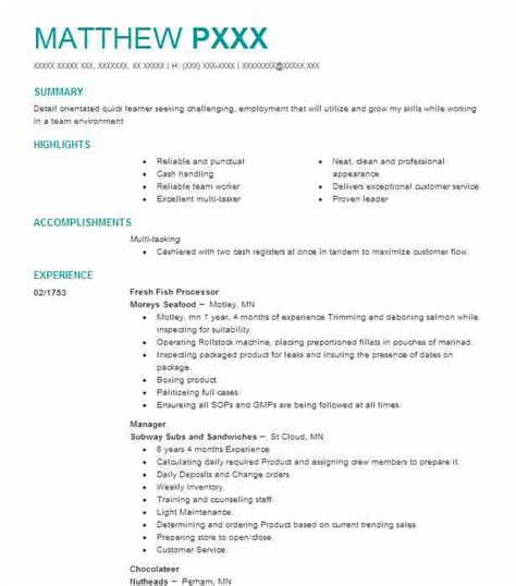 Fish Processor Sle Resume by Find Resume Exles In Staples Mn Livecareer
