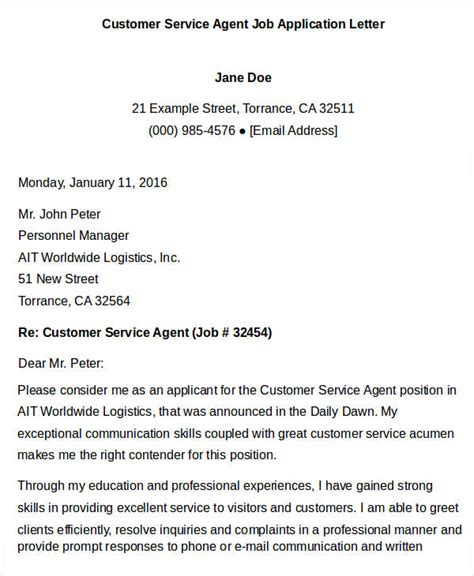 Application Letter For Customer Service 40 application letter templates pdf word free premium templates