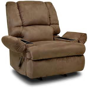 designed2b recliner 5598 padded suede rocker with storage arms mocha the brick