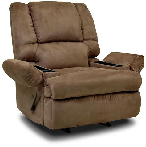 Recliner With Storage designed2b recliner 5598 padded suede rocker with storage