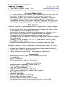 Heavy Equipment Operator Resume Template by Sle Resume Heavy Equipment And Resume On