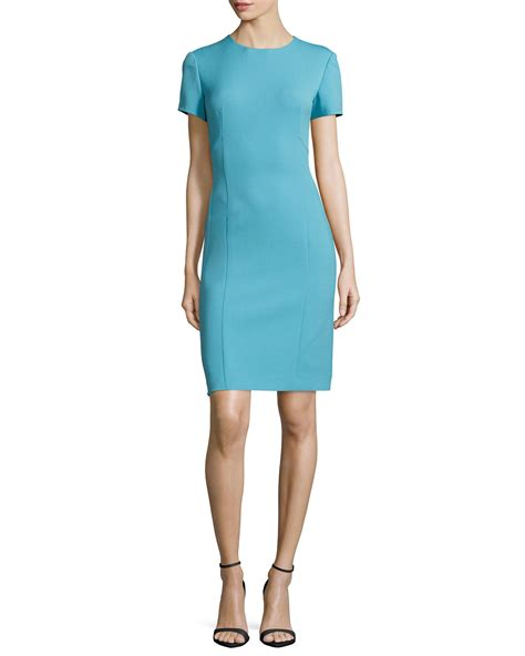 Sleeve Sheath Dress lyst agnona sleeve sheath dress in blue