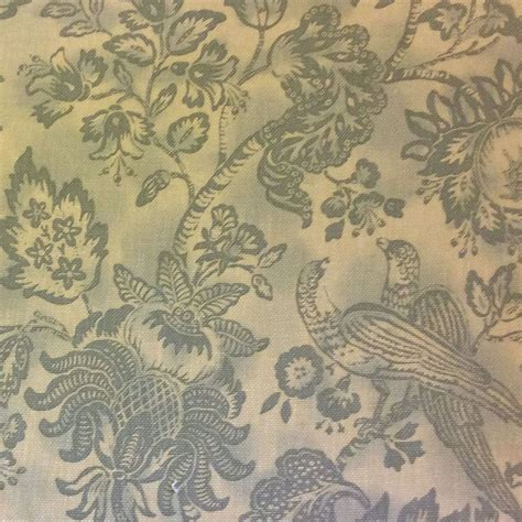 drapery material hd364 toile bird floral large scale blue heavy cotton