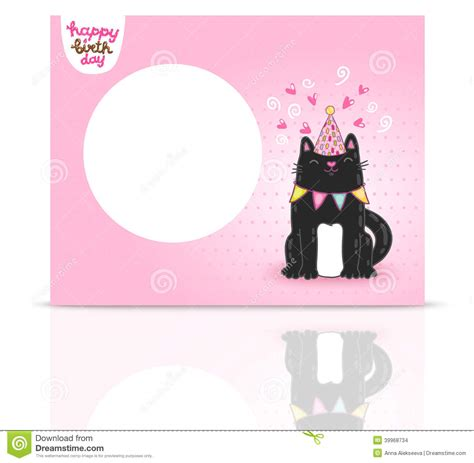 cat card template happy birthday card background with a cat stock vector