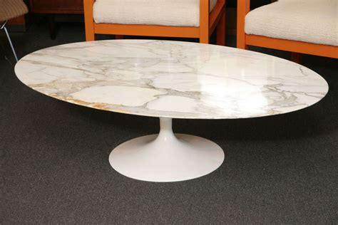 Tulip Coffee Table Early Saarinen Oval Tulip Coffee Table Calacatta D Oro Marble At 1stdibs