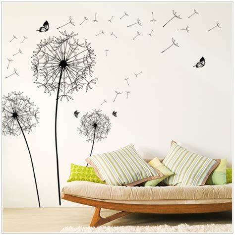 diy new design large black dandelion wall sticker