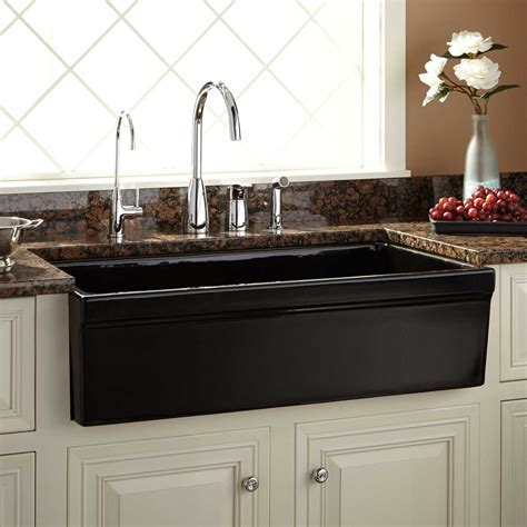 Kitchens With Farm Sinks 36 Quot Gallo Fireclay Farmhouse Sink Black Kitchen