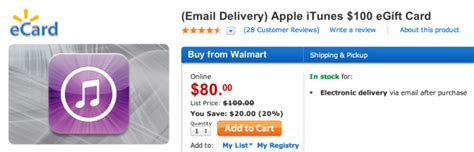 Walmart Itunes Gift Cards - walmart offering 100 itunes gift card for 80 email delivery