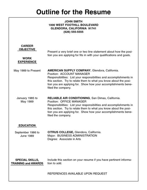 Resume Outline Format by Resume Outline Free Student Resume Template Student Resume Template