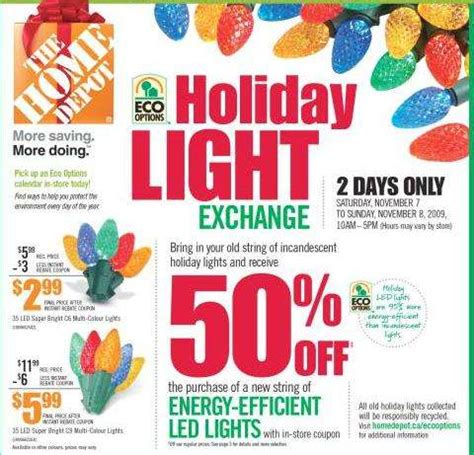 home depot holiday light exchange save 50 on energy