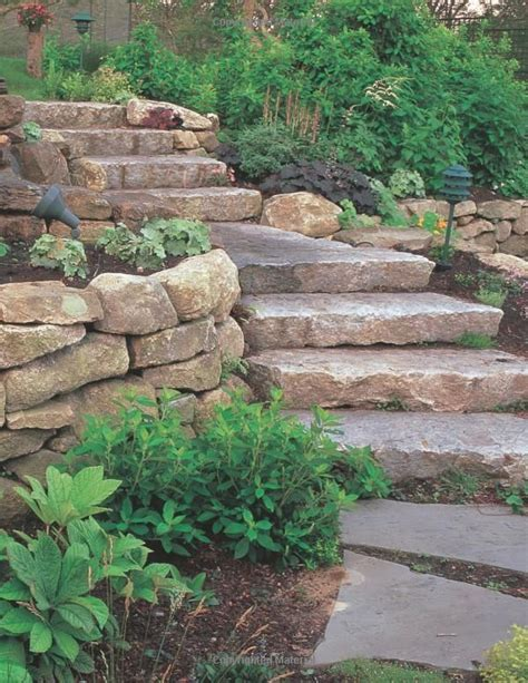 Landscaping St Louis Natural Stone Steps Boulder Rock Wall Garden Ideas