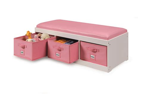 storage bench with cushion and baskets amazon com badger basket kid s storage bench with