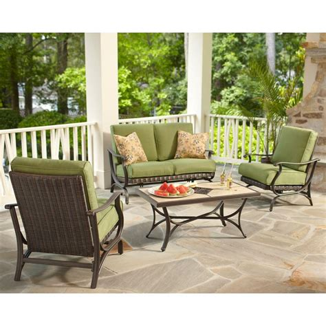 patio set cushions hton bay pembrey 4 all weather wicker patio conversation set with moss cushions hd14206