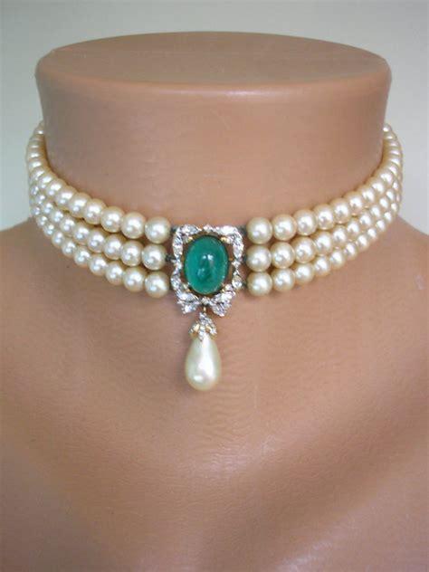 Choker Pearly Wings Choker emerald pearl bridal choker great gatsby jewelry pearl necklace pearl and rhinestone collar