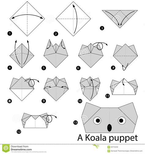 How To Make An Origami Koala - step by step how to make origami a koala
