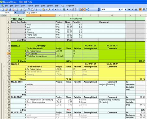 Time Management Spreadsheet Template time management diary template