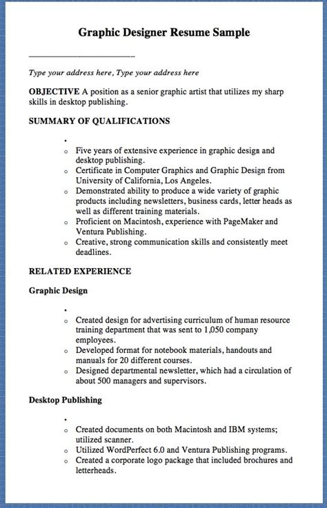 Senior Graphic Designer Resume Sles Graphic Designer Resume Sle Type Your Address Here Type Your