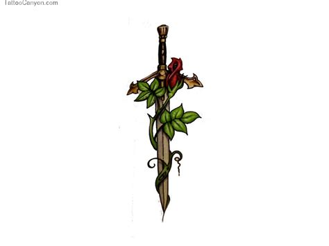 rose and dagger tattoo dagger image